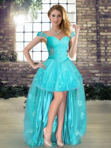 Aqua Blue A-line Off The Shoulder Sleeveless Tulle High Low Lace Up Beading and Appliques Pageant Dress for Teens