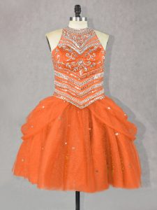 Custom Designed Halter Top Sleeveless Lace Up Evening Gowns Orange Red Tulle