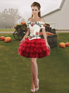 Off The Shoulder Sleeveless Organza Pageant Dress for Teens Embroidery and Ruffled Layers Lace Up