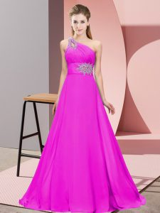 Nice Empire Pageant Dress Toddler Fuchsia One Shoulder Chiffon Sleeveless Floor Length Lace Up