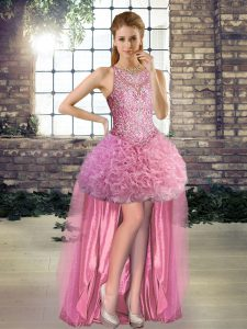Rose Pink Scoop Neckline Beading Pageant Dress for Womens Sleeveless Lace Up
