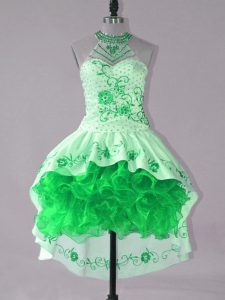 Modern Green Ball Gowns Embroidery and Ruffles Pageant Dress Lace Up Satin and Organza Sleeveless High Low