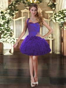 Enchanting Mini Length Lace Up Evening Gowns Purple for Prom and Party with Ruffles