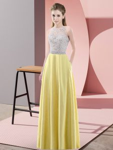 Beading Winning Pageant Gowns Yellow Backless Sleeveless Floor Length
