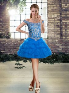 Ball Gowns Pageant Dress Blue Off The Shoulder Tulle Sleeveless Mini Length Lace Up