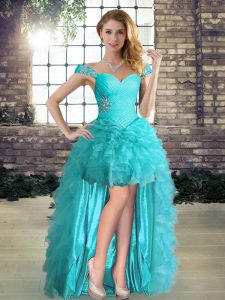 Off The Shoulder Sleeveless Organza Pageant Dress Womens Beading and Ruffles Lace Up