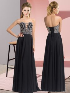 Black Lace Up Evening Gowns Beading Sleeveless Floor Length