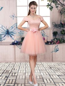 Popular Pink Tulle Lace Up Evening Gowns Short Sleeves Mini Length Lace and Hand Made Flower