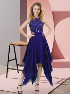 Sexy Beading and Sequins Glitz Pageant Dress Purple Zipper Sleeveless Asymmetrical