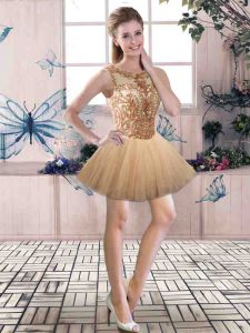 Enchanting Gold Tulle Backless Scoop Sleeveless Mini Length Glitz Pageant Dress Beading