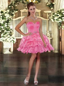 Rose Pink Pageant Dress for Teens Prom and Party with Beading and Pick Ups Sweetheart Sleeveless Lace Up