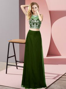 Deluxe Floor Length Olive Green Custom Made Pageant Dress Scoop Sleeveless Backless