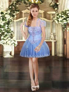 Beauteous Lavender Tulle Lace Up Pageant Dress Sleeveless Mini Length Beading and Lace and Appliques