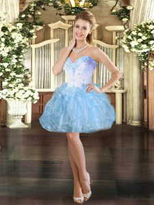 Modest Sleeveless Organza Mini Length Lace Up Pageant Gowns in Light Blue with Beading and Ruffles