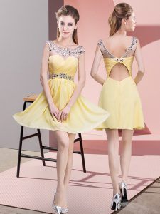 Exquisite Empire High School Pageant Dress Yellow Scoop Chiffon Sleeveless Mini Length Backless
