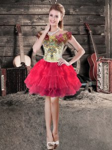 Enchanting Floor Length Red Glitz Pageant Dress Off The Shoulder Sleeveless Lace Up