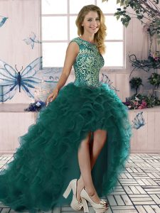 Deluxe Organza Scoop Sleeveless Lace Up Embroidery and Ruffles High School Pageant Dress in Dark Green
