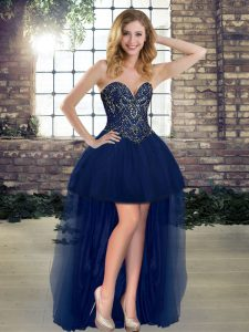 Navy Blue Lace Up Sweetheart Beading Pageant Dress Toddler Tulle Sleeveless