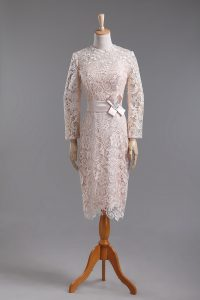 Attractive Champagne Zipper High-neck Lace and Belt Custom Made Pageant Dress Lace Long Sleeves