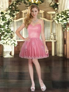 Extravagant Sweetheart Sleeveless Pageant Dress Mini Length Appliques Watermelon Red Tulle