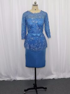 Elegant Blue Scoop Neckline Lace and Appliques Pageant Dress for Teens Long Sleeves Zipper
