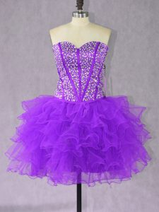 Sophisticated Purple Pageant Dress Toddler Prom and Party with Beading and Ruffles Sweetheart Sleeveless Lace Up