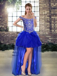 Stylish Sleeveless High Low Beading and Ruffles Lace Up High School Pageant Dress with Royal Blue
