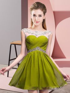 Olive Green Backless Custom Made Pageant Dress Beading and Ruching Sleeveless Mini Length