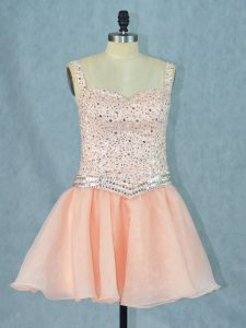 Popular Sleeveless Organza Mini Length Lace Up Pageant Dress for Teens in Peach with Beading