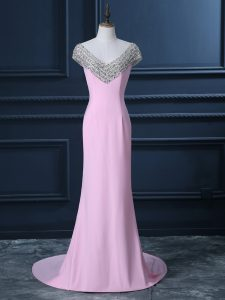 Fancy Pink Mermaid V-neck Cap Sleeves Chiffon Court Train Side Zipper Beading Pageant Dresses