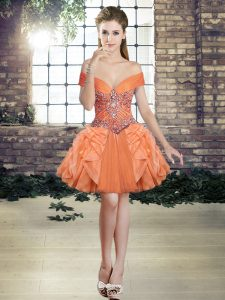 Lovely Orange Off The Shoulder Lace Up Beading and Ruffles Pageant Dress for Womens Sleeveless