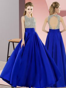 Royal Blue Scoop Backless Beading Pageant Dress Sleeveless