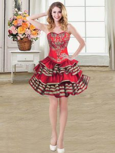 Wine Red Sleeveless Mini Length Embroidery and Ruffled Layers Lace Up Pageant Dress Womens