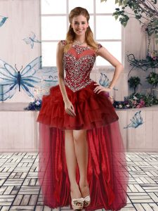 Burgundy Zipper Pageant Dress for Girls Beading and Pick Ups Sleeveless High Low