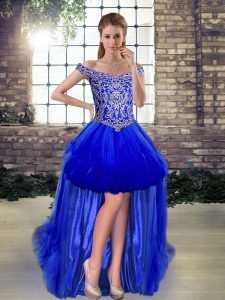 Off The Shoulder Sleeveless Tulle Pageant Dress for Teens Beading Lace Up