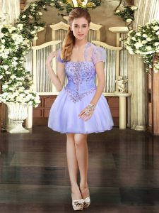 Exceptional Lavender High School Pageant Dress Prom and Party with Beading and Lace Strapless Sleeveless Lace Up