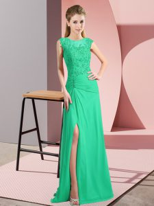 Deluxe Turquoise Zipper Scoop Beading Pageant Dress for Teens Chiffon Sleeveless