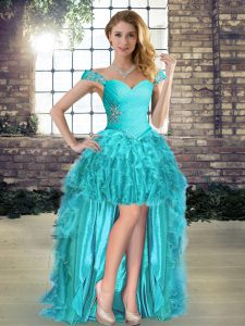 Colorful Off The Shoulder Sleeveless Lace Up Pageant Dress for Teens Aqua Blue Organza
