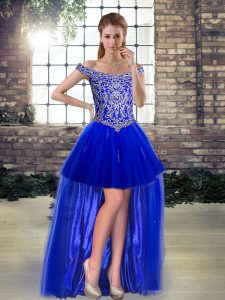 Edgy Royal Blue A-line Beading and Appliques Pageant Dress Wholesale Lace Up Tulle Sleeveless High Low