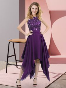 Fantastic High-neck Sleeveless Chiffon Pageant Dress for Girls Beading and Sequins Zipper