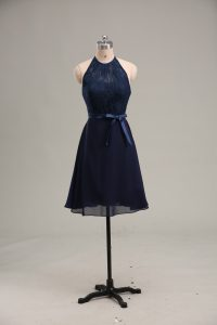 Scoop Sleeveless Backless Pageant Dress Wholesale Navy Blue Chiffon