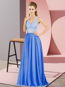 Sleeveless Floor Length Beading and Lace Backless Pageant Dress Wholesale with Blue