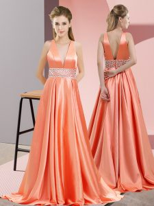 Sleeveless Elastic Woven Satin Brush Train Backless Pageant Dresses in Orange Red with Beading