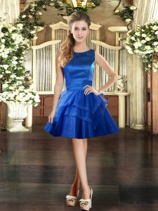 Extravagant Royal Blue Scoop Lace Up Ruffled Layers Pageant Dress Womens Sleeveless