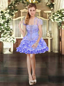 Best Selling Lavender Organza Lace Up Strapless Sleeveless Mini Length Pageant Dress Wholesale Beading and Lace and Ruffled Layers