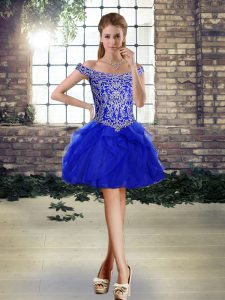 Sumptuous Royal Blue Ball Gowns Tulle Off The Shoulder Sleeveless Beading and Ruffles Mini Length Lace Up Pageant Dress Toddler