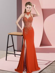 Lace and Appliques Pageant Dress Wholesale Orange Red Backless Sleeveless Floor Length