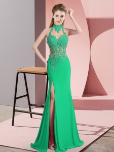 Green Halter Top Neckline Beading and Lace and Appliques Pageant Dress for Teens Sleeveless Backless