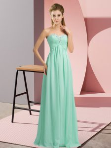 Apple Green Sleeveless Floor Length Beading Lace Up Winning Pageant Gowns