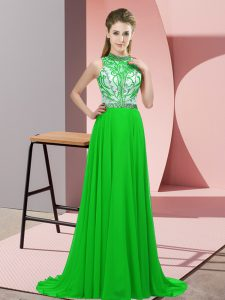 Top Selling Green Custom Made Pageant Dress Halter Top Sleeveless Brush Train Backless